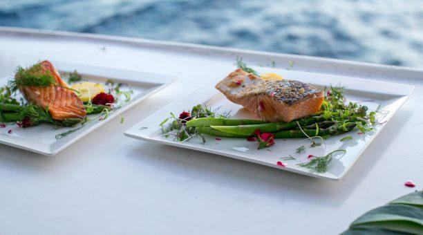 Enjoy your dinner on the Top Deck with magnificent views of the sun setting over the water